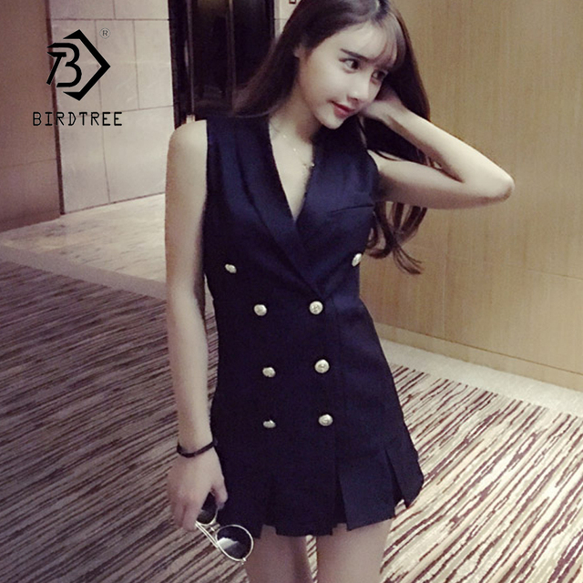 e19a63f040b72 New Arrival Women Solid Double Breasted Sleeveless Office Lady Ruched  Jacket Elegant Vintage Jackets Fashion Hot