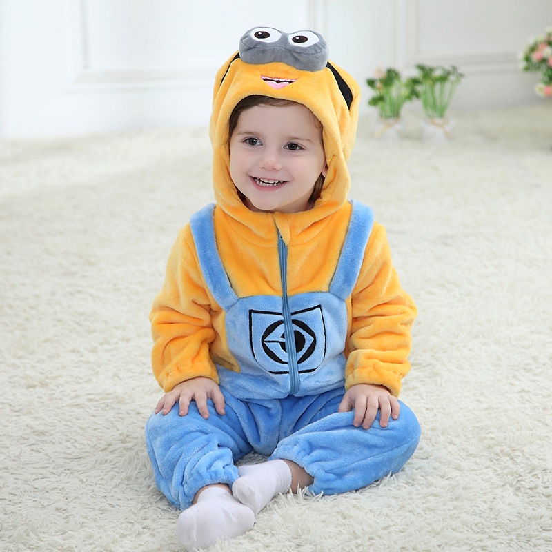 Cosplay Minion Kigurumi Baby Kids Cartoon Animal Costume Warm Soft Flannel Fancy Onesie Cute Pajamas Funny Cartoon BodySuit