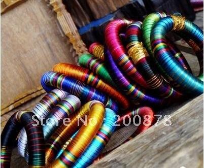 3617a12c7 BB-239 الهندية الملونة الحرير واسعة لطيف أساور ، bollywoode الأزياء والرقص  معصمه ، مزيج النظام ، 10 قطع الكثير