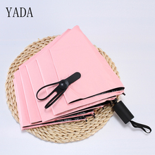 YADA Three-Fold Windproof Sunny & Rainy Solid Color Women Folding Umbrella Anti-UV Waterproof Parasol Gift YD023