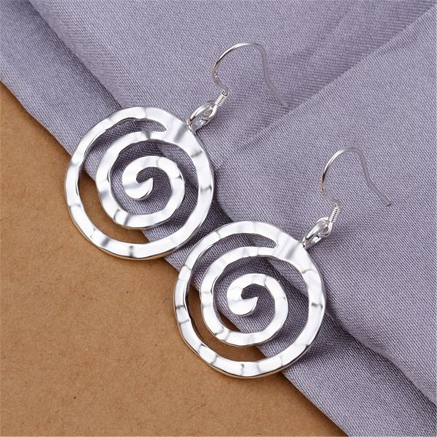 Wedding , Free Shipping Cute Nice Women Lady Noble Fashion Silver Color Earrings Hot Selling Fashion Jewelry E353