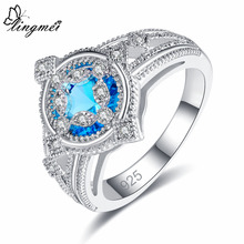 Lingmei Exquisite Round Cocktail Wedding Rings Womens Fashion Zircon Silver 925 Ring Size 6 7 8 9 Anniversary Gifts Wholesale