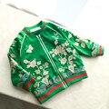 2016 Girls Heavy satin flower embroidery jacket Baby Children's Baseball windbreaker Coat spring autumn clothing wholesale