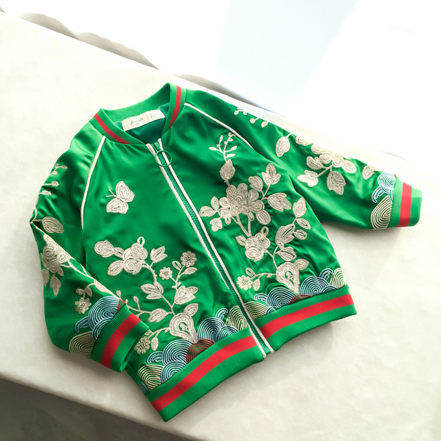 2016 Girls Heavy satin flower embroidery jacket Baby Children's Baseball windbreaker Coat spring autumn clothing wholesale