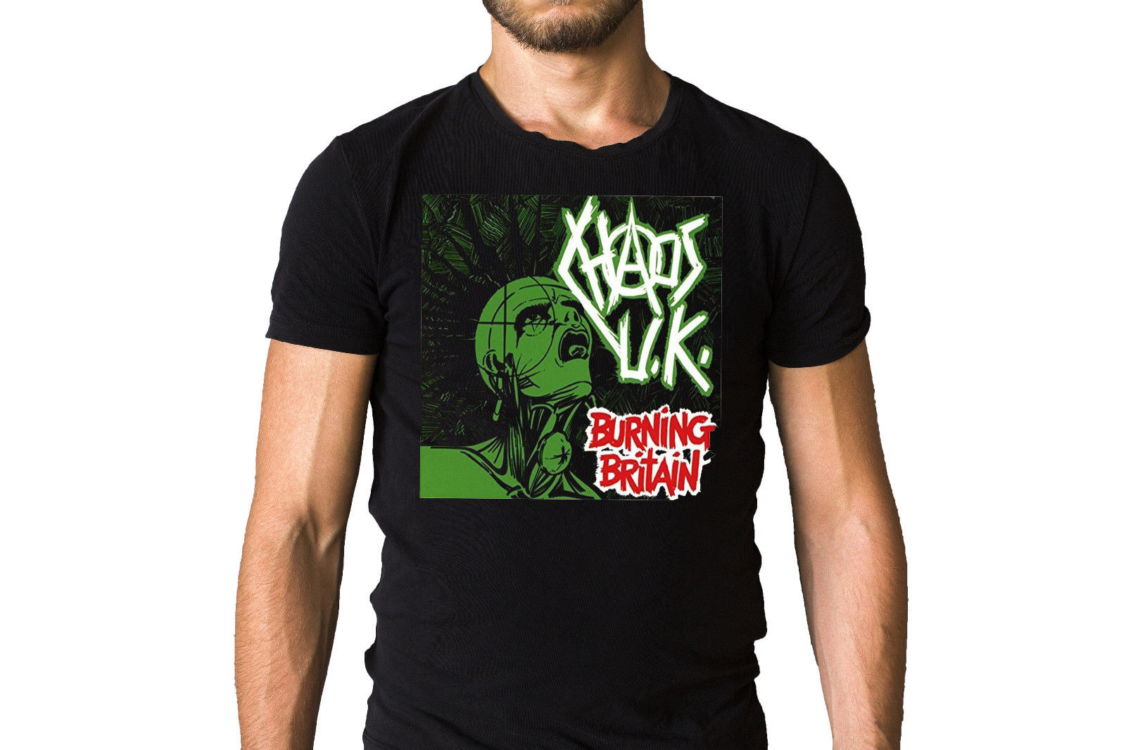 Chaos UK Burning Britain 1982 Iconic Green Album Cover Black T-Shirt Printed Round Men T Shirt Cheap Price Top Tee