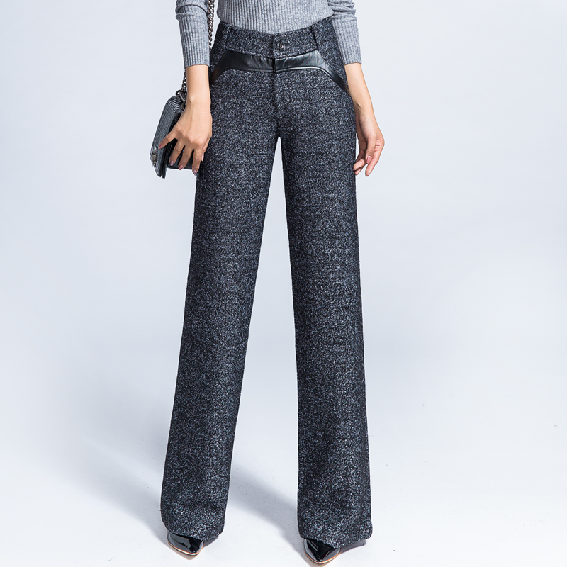 Women Formal Straight   Pants   Office Lady Wide Leg Wool Trousers High Waist Woolen Flare   Pants     Capris   Work Wear Casual   Pants   Thick