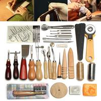 48Pcs Home DIY Leather Crafts Punch Tools Kit for Hand Stitching Carving Sewing Leather Crafts Kit DIY Hand Tool