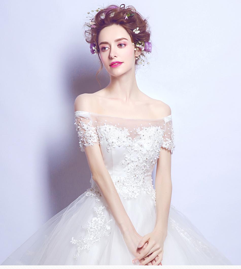 Angel Wedding Dress Marriage Bride Bridal Gown Vestido De Noiva 2017 Boat Neck Nail, lace, 2129 1