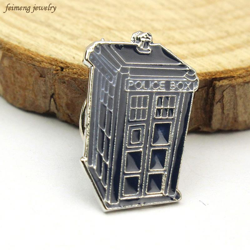 Free Shipping Doctor Who Tardis Jewelry Dr Who Brooch Badge Ancient Blue Vintage Brooches Time Mechine Police Box Wholesale