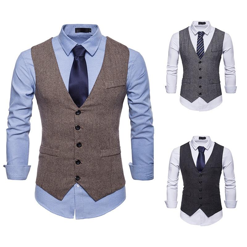 British Style Vest  Elegant Business Slim Fit Chcheck Vest  Waistcoat Men