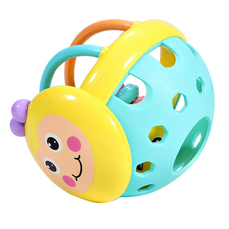 Children's Soft Plastic Can Bite Rattle Bee Hand Rattle Cartoon Bee Hand Beat Dumbbell Baby Early Education Toy Children Kinde