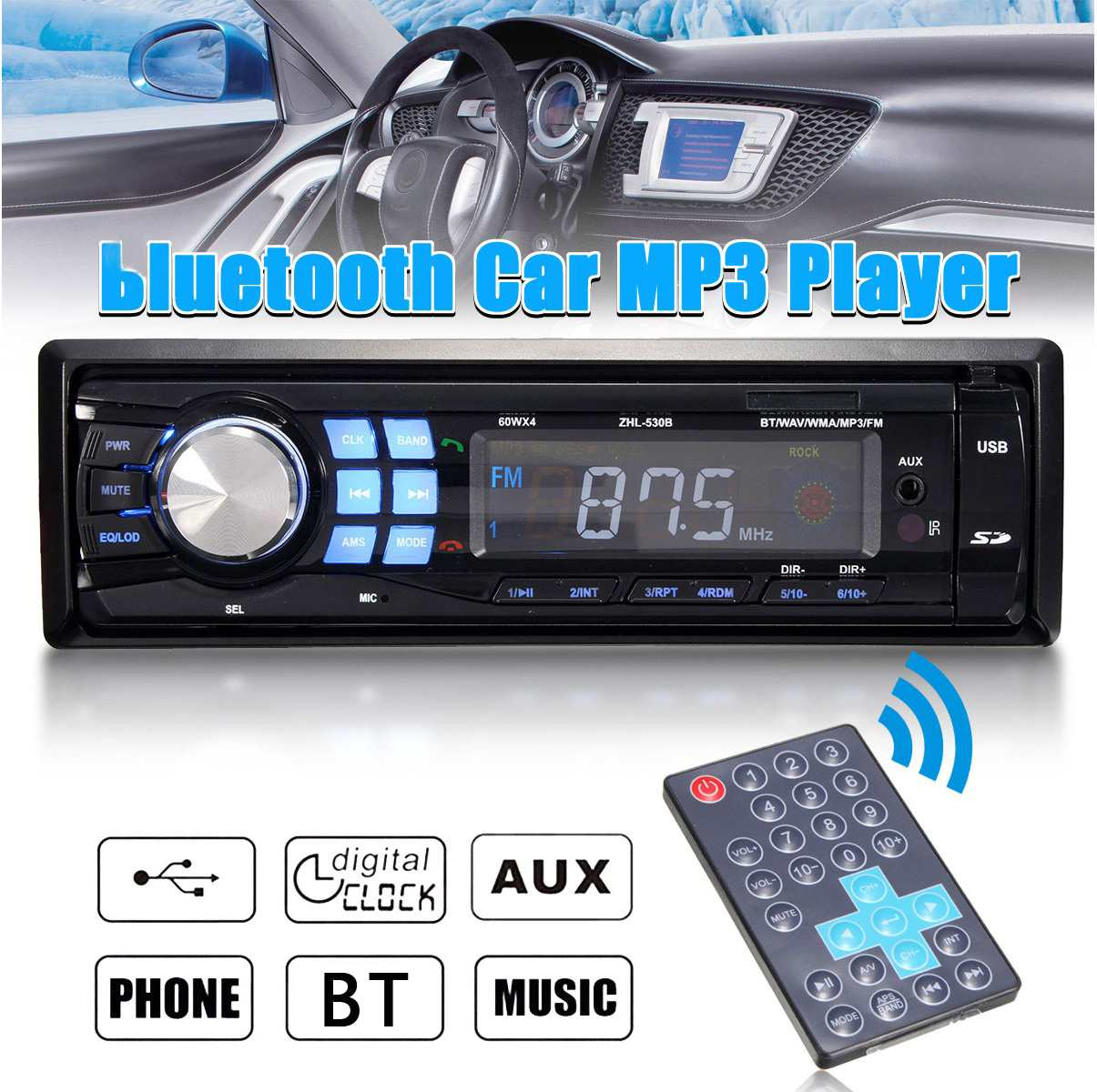 1DIN 12V Auto Car bluetooth Estéreo MP3 Radio Audio Player In Dash FM Transimittervs Entrada Aux Receptor USB Com controle remoto