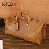 AETOO новые мужские кожаные дорожные сумки, ручные сумки на плечо, путешествия и отдых большая вместимость сумки