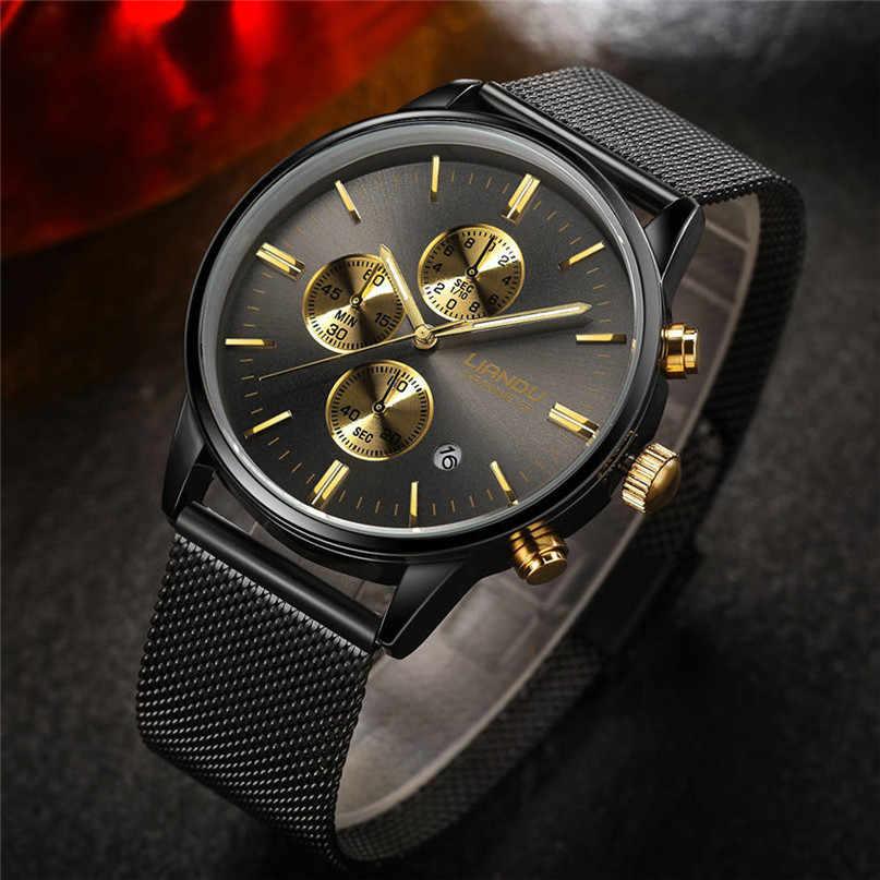 Часы LIANDU мужские, Роскошный хронограф, светящиеся кварцевые часы, имитация нержавеющей стали, сетка, наручные часы * 60
