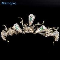 Luksusowy Mamojko Jasny Złoty Kolor Imitacja Pearl & Crystal Sukienka Princess Bride Wedding Tiara Korony Kobieta Mody Akcesoria