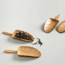 Forma da folha do vintage colher de chá colher de chá de bambu colher de chá natural conjunto de chá de bambu elegante conjunto de chá de bambu acessórios colheres de café