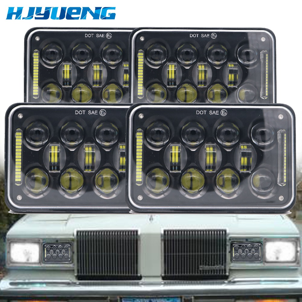 HJYUENG For Ford Mustang Truck Light System 4x6 inch DOT Approved HeadLamp Square 5'' 60W Led Work Hi/Lo beam Light ford mustang v6 2011