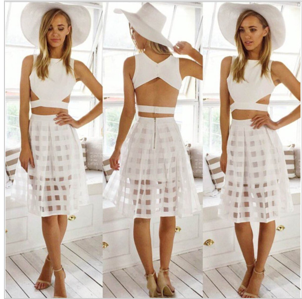 e22a7d72202 Summer Style crop top and skirt set White Plaids Full Skirts Short Sheer  Sexy Cropped Casual Cut Out saias cheap clothes china