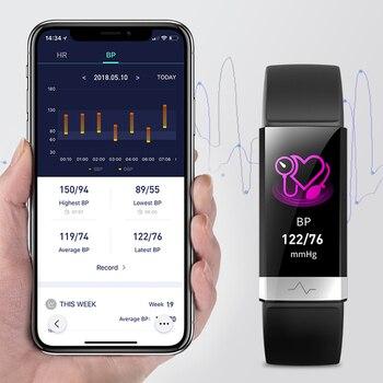 цена на 2019 New blood pressure wrist band heart rate monitor bracelet ECG PPG HRV smart watch with electrocardiogram display wristband