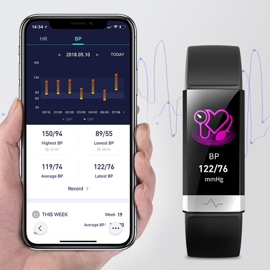 2019 Nova pressão arterial de pulso monitor de freqüência cardíaca banda pulseira PPG VFC smart watch com eletrocardiograma ECG exibição pulseira