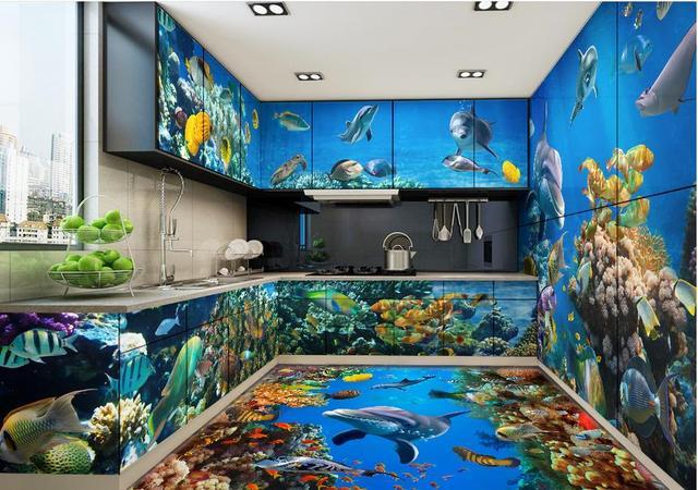 Wallpaper Customized 3d Flooring Pvc Self Adhesive The Underwater World Floor Tiles Kitchen Wall