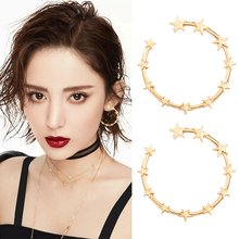 Night Club Cool Shiny Sexy Silver Round Large Long Big Black Pentagram Earring 2018 Jeffree Star Earrings Duftgold(China)