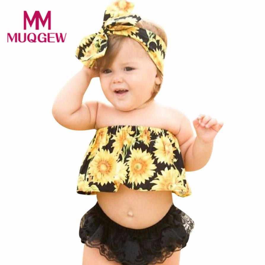 b1b28b90f1d MUQGEW Newborn Baby Girl Summer Clothes New Fashion Sunflower Off Shoulder  Tops+Lace Ruffles Shorts