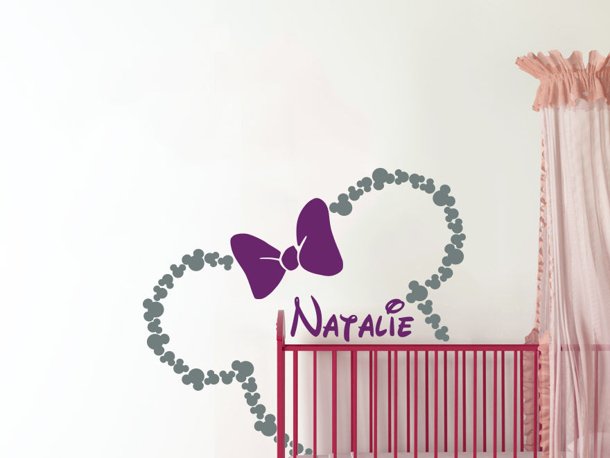 Personalized Girl Name Wall Decal Diy Minnie Mouse Head ...