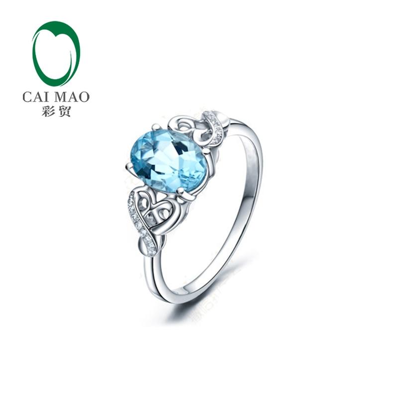 Caimao 18 كيلو الذهب الأبيض 6×8 ملليمتر 1.15ct البيضاوي قص الزبرجد 0.04ct diamond ring