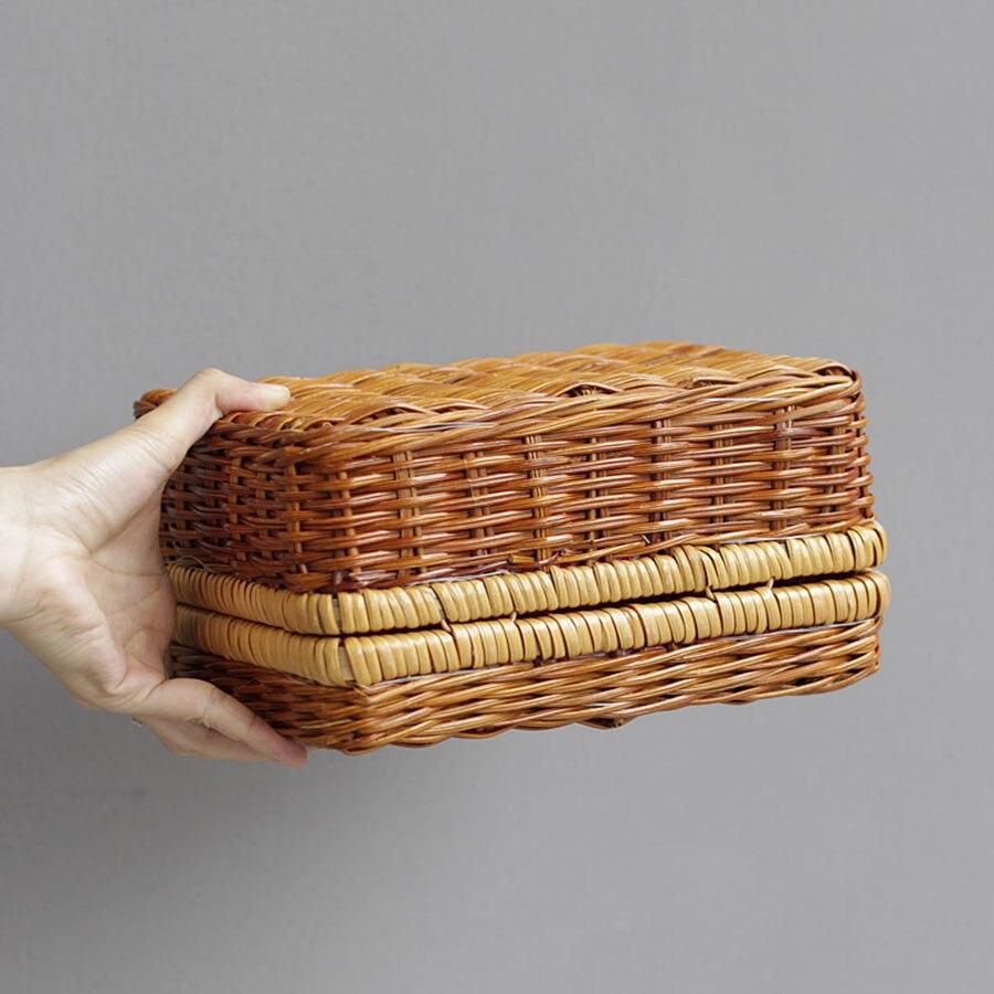 Vintage marrom feminino rattan saco caixa estilo