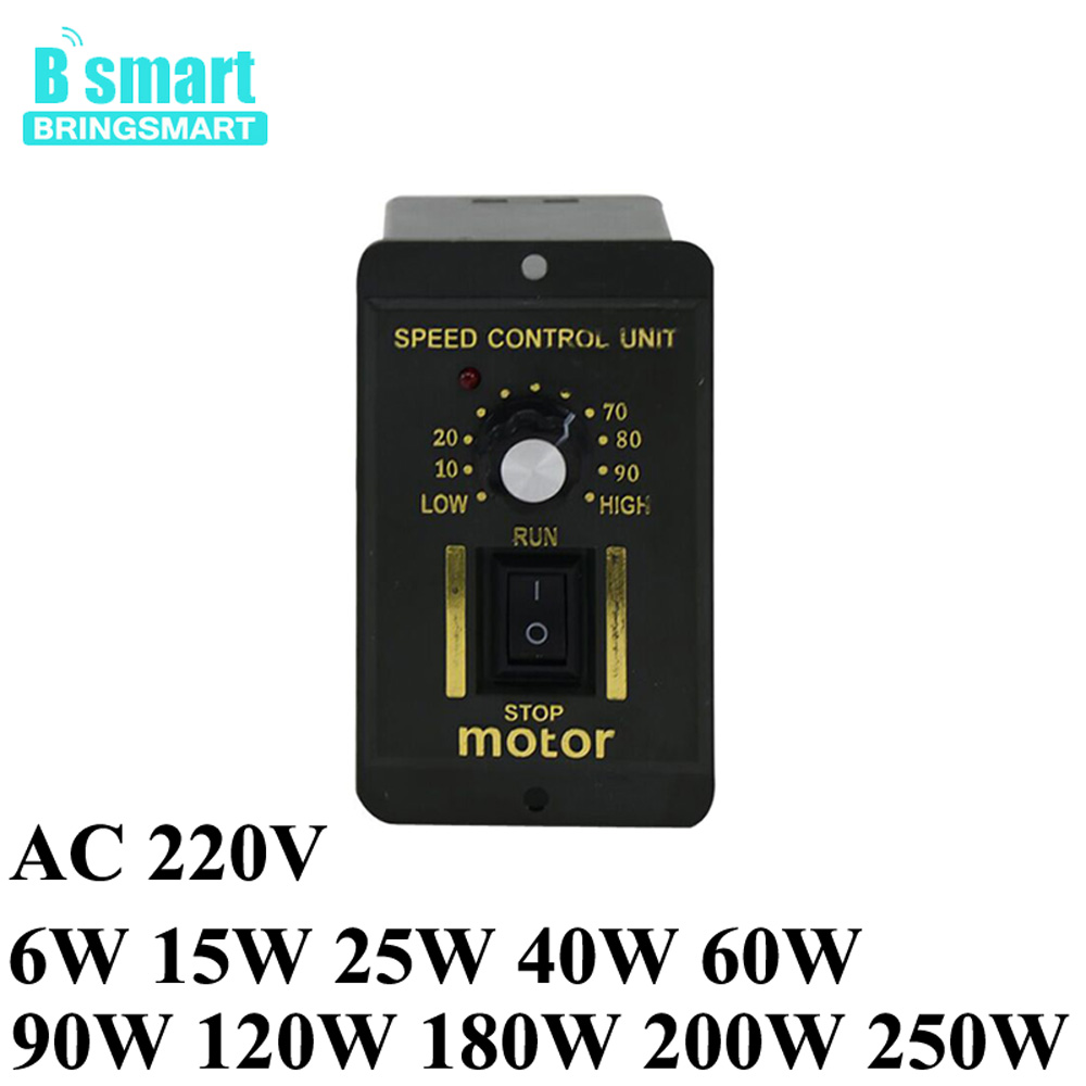 Wholesale Single-Phase AC Motor Speed Controller 220V For Gear Motor 220V With Reversed Stepless Speed Regulation 6W-250W 5m40gn c ac motor single phase gear motor 220v 40w induction motor with metal gear reversed speed controller 220v adjust speed