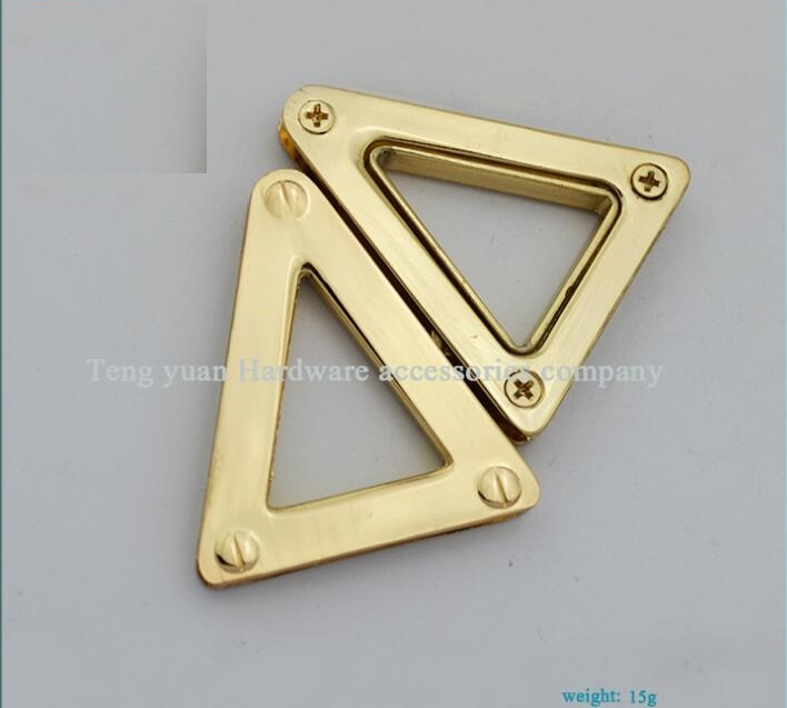 (10 PCS/lot) On both sides of the straps chain triangle piercing corns hang bag hook bags leather metal accessories