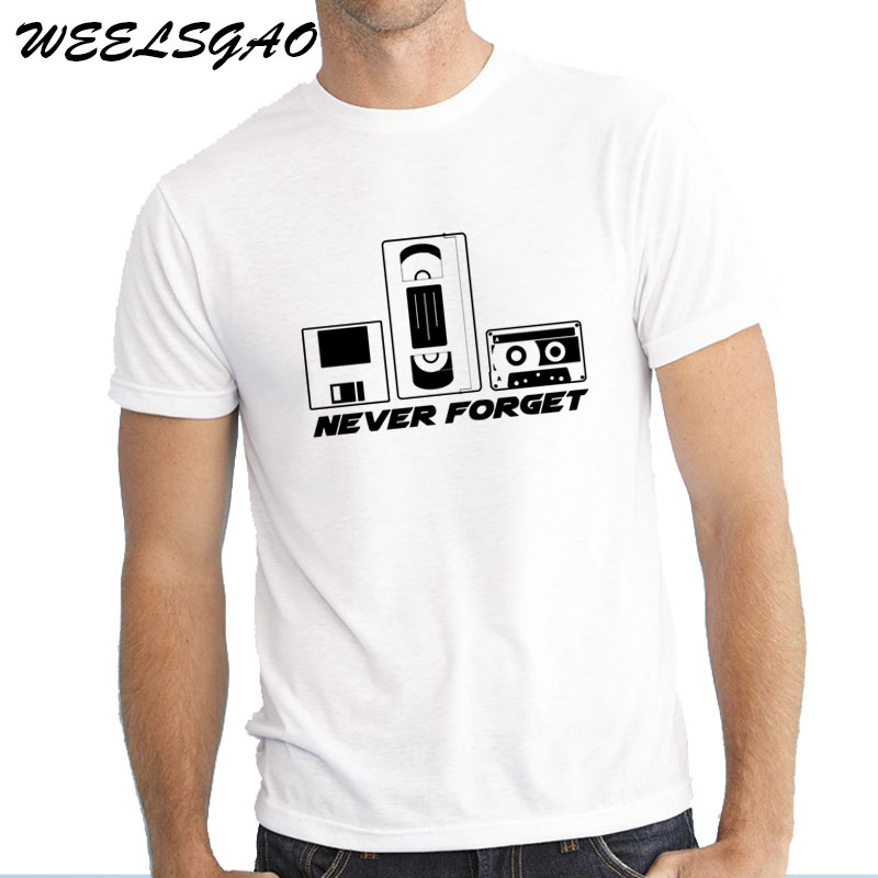 WEELSGAO New Arrival Brand-Clothing Never Forget 80s Video Tape O-neck Male Casual T-shirt Top Tees Funny Gift Him Dad T shirt