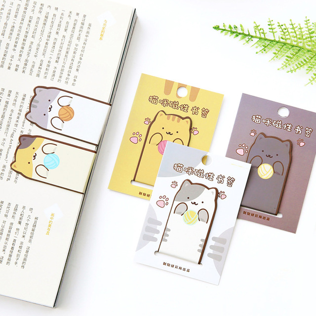 Lovely Cartoon Cat Design Magnetic Bookmark 3*5.2cm Cute Korean Fashion Stationery Students Gift Free Shipping