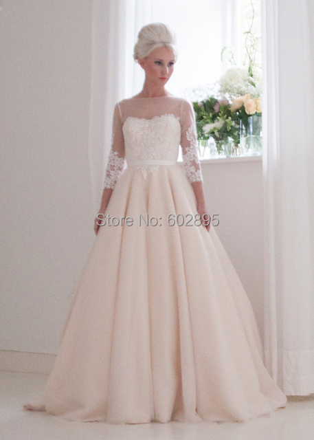 Latest see through neck princess ball gown brand wedding dress with ...