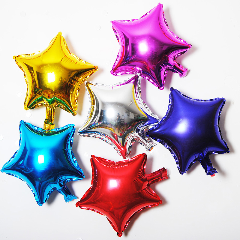 Five-pointed star aluminum balloon multicolor 5-10-18 inch small star party cele