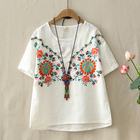 Summer Mori Girl Linen T Shirt Women S Floral Embroidery Tops Retro Breathable Cotton T Shirts