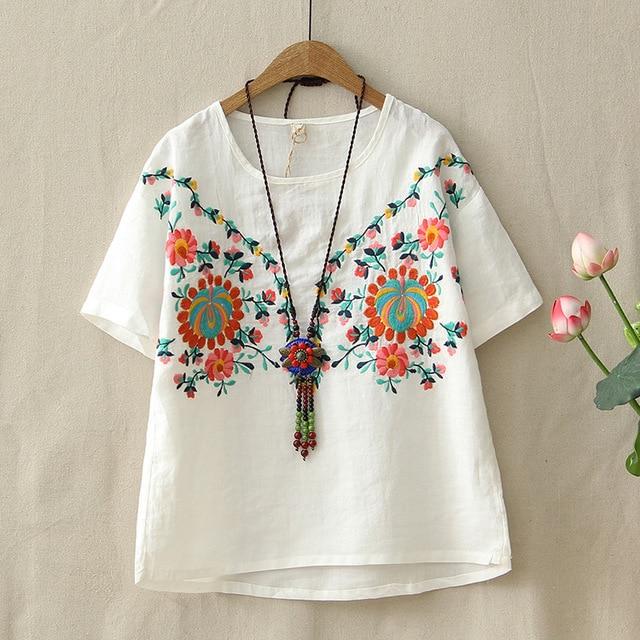 4362bd9162 Mori dziewczyna lniane lato T koszula damska kwiatowy haft bluzki Retro  oddychające bawełniane koszulki z krótkim