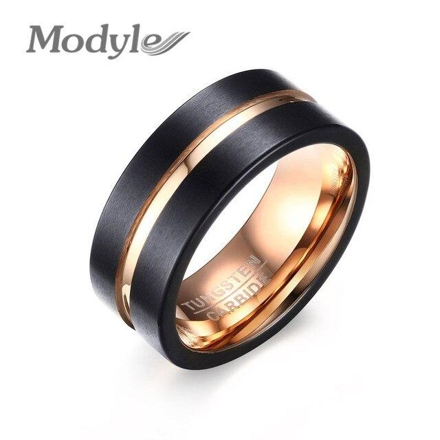 Modyle 2017 Fashion 8MM Black Mens Tungsten Carbide Ring Matte Wedding Band  With Rose Gold