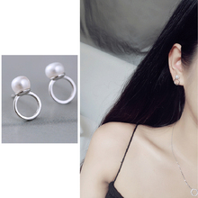 Jewelry New Brand Design Silver Color Pearl Stud Earrings For Women 2019 Elegant Ladies Accessories Simple Round Rings Earrings earrings ladies popular exaggeration new brand natural pearl handmade earrings accessories jewelry ear accessories direct access