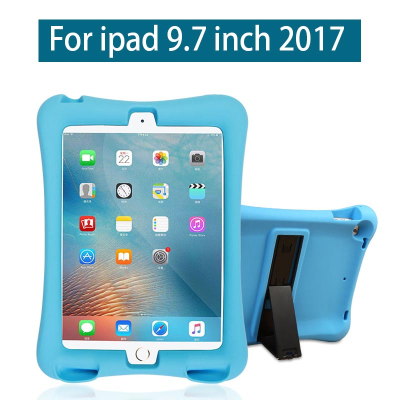 Shockproof Case For ipad 9.7 2017 new A1822 A1823 Kid Safe Soft Silicone Cover Durable Stand Protective Shell With Loudspeaker