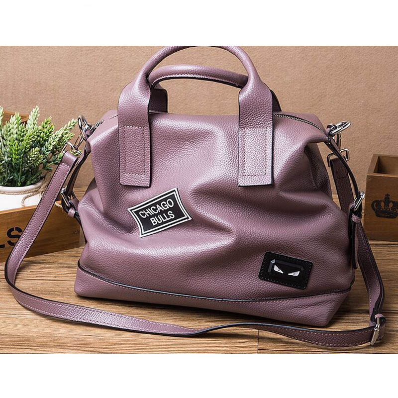 2017 Women Tote Bag 100% Genuine Leather Large Shoulder Bags Female Bag High Quality Real Skin Vintage Style Purple Handbags zooler genuine leather genuine real cowhide small handbags high quality brand women plaid shoulder bags chain tote crossbody bag