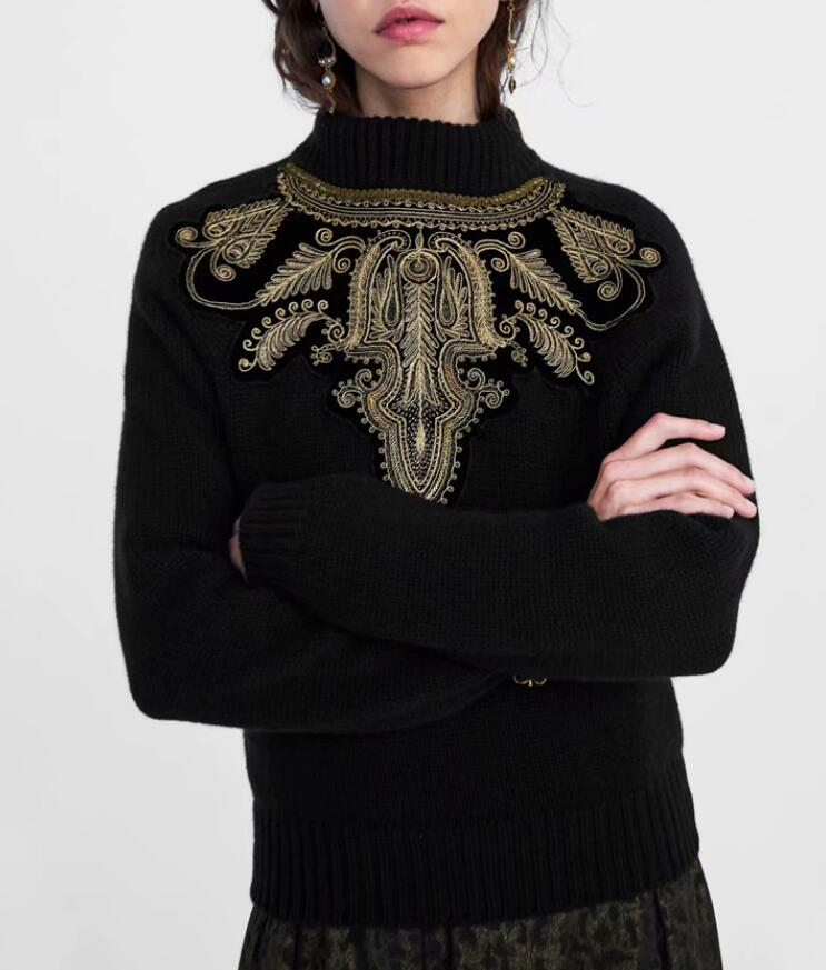 BLACK BEADED KNIT SWEATER Front Contrast Embroidered bead applique high neck  Knitted Jersey Top lONG SLEEVED. US  35.99. 2 orders. WISHBOP 2017 Fashion  ... efc042207552