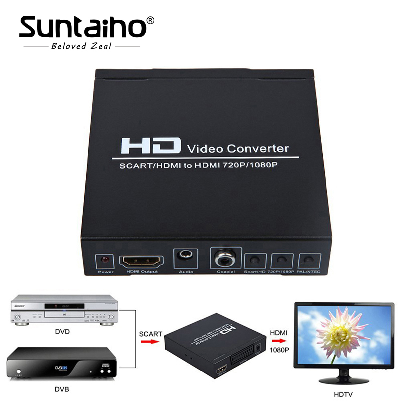 SCART +HDMI to HDMI Converter 1080p HD video converter for HDTV XBOX360 PS3 DVD WII STB HDMI Splitter Free shipping все цены