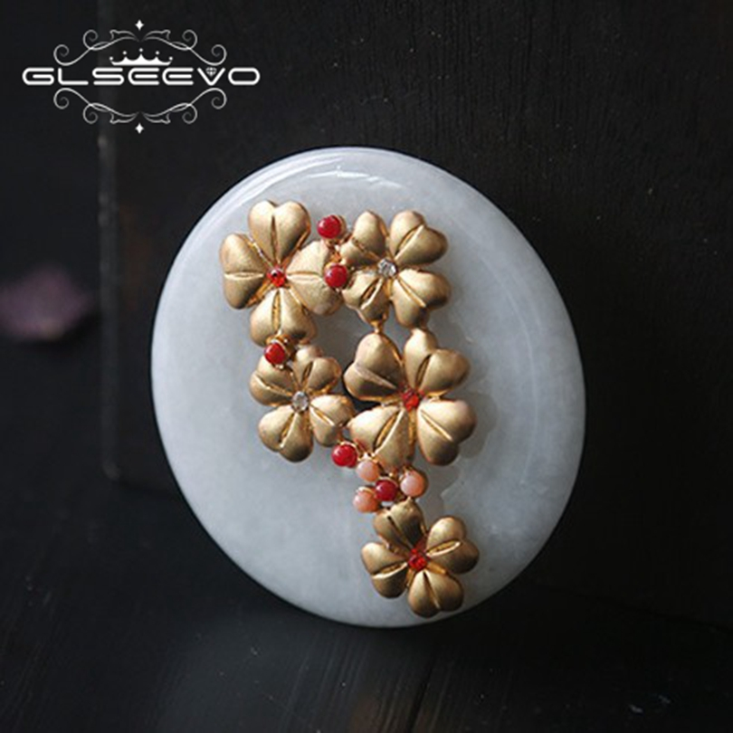 GLSEEVO Natural Jade Flower Brooch Pins And Brooches For Women Accessories Wedding Party Gifts Dual Use Luxury Jewellery GO0207 недорого