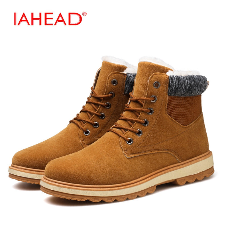 IAHEAD Men Snow Boots Winter Inside Fluff Shoes Men Martin  Lace-Up Tactical Boots Military  Cowboy Boots Mens MU517