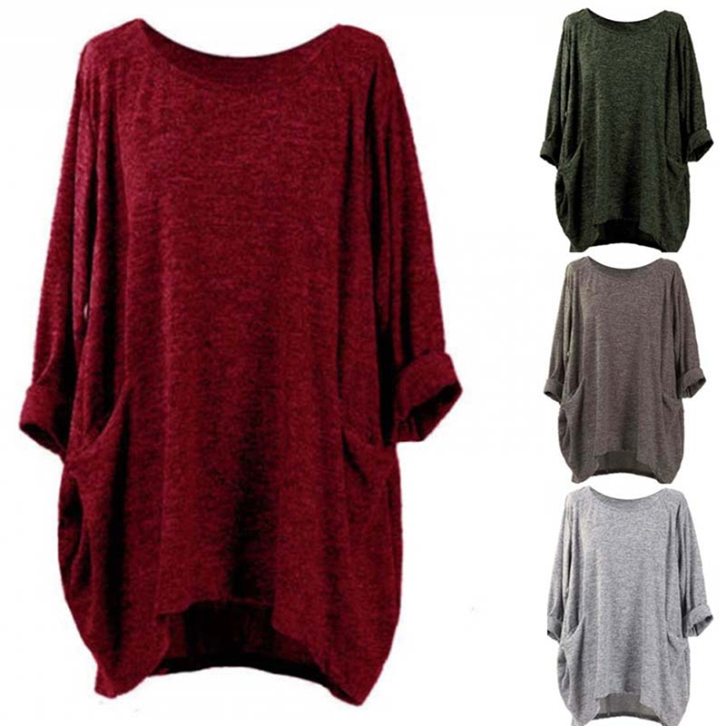 <font><b>4XL</b></font> Women Autumn Blouses Oversize Long Sleeve Blouse Loose Pocket Long Sleeve O Neck Long Tops Blouse <font><b>Camisas</b></font> <font><b>Mujer</b></font> Bigsweety image