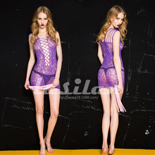 Fashion Sexy Lingerie Lace Black Red Purple Sexy Sling Jacquard Long Sleeve Skirt Costume Netting Women Sex Products Hot Gifts