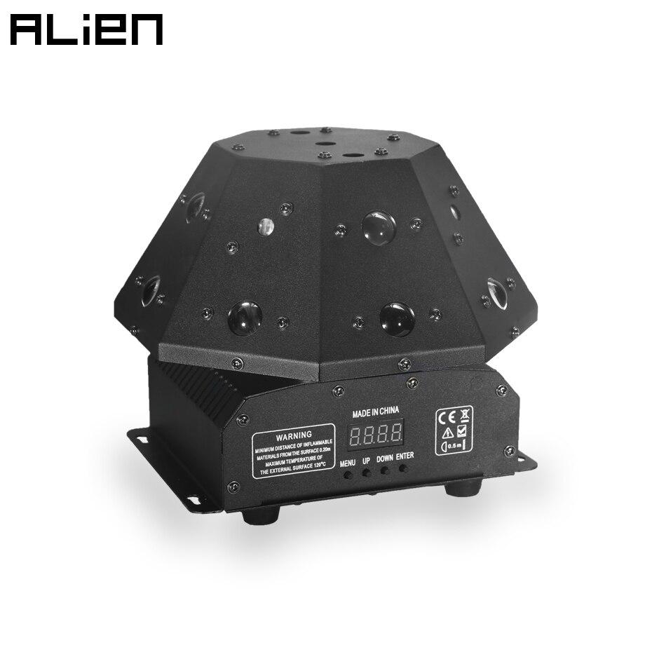 ALIEN 3 в 1 сценический светильник ing Effect RGB лазерный проектор + RGB светодиодный луч светильник + белый стробоскоп DJ Дискотека вечерние танцы DMX вращающийся светильник