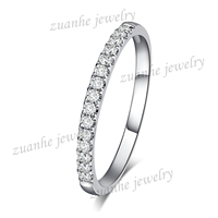 HALF Eternity Band Pave H SI Diamond Solid 10K White Gold Engagement Wedding Ring